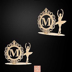 Topo de Bolo Display Bailarina com Brasão Personalizado em MDF