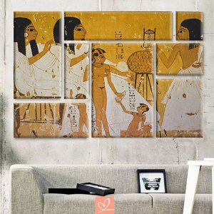 Conjunto Oito Telas Assimétricos Pintura Egípcia