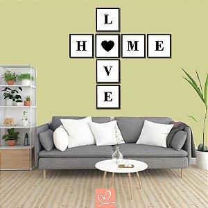 Kit 7 Quadros Emoldurados Love Home