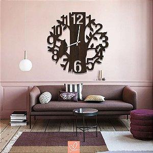 Relógio em Madeira Folhagens