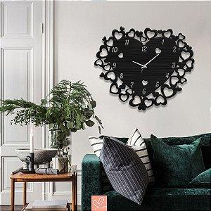 Relógio em Madeira Corações Romântico