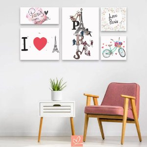 Kit Placas Decorativas Love Paris