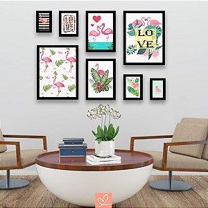 Kit Placas Emolduradas - Love Flamingos