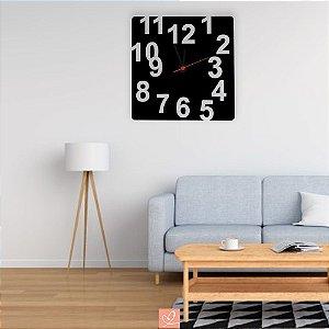 Relógio Decorativo de Parede Tradicional em Acrílico Preto