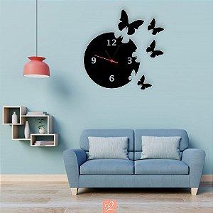 Relógio Decorativo de Parede Tema Borboletas em Acrílico Preto