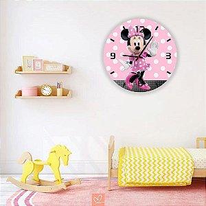 Relógio Decorativo de Parede em MDF Minnie Pink