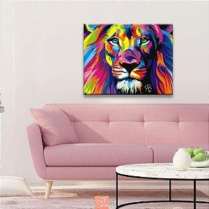 Quadro em Tela Canvas Leão Abstrato