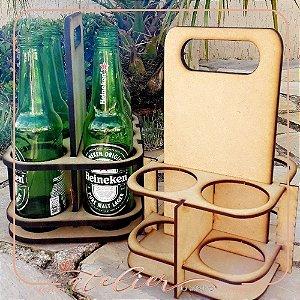 Porta Garrafas Decorativo Mdf Cru 25x15cm Para 4 Garrafas