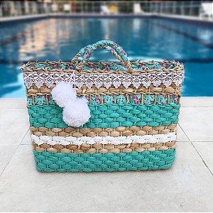 Bolsa de palha azul piscina