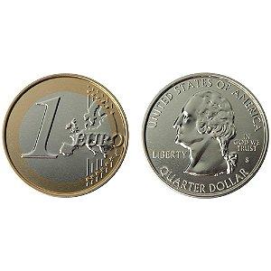 Porta Copos Moeda Euro e Dólar