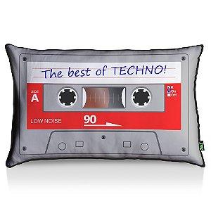 Almofada Fita Cassete Best Of Techno - fundo preto