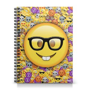 Caderno Universitário Capa Dura 1x1 - Emoticon - Emoji Nerd Geek