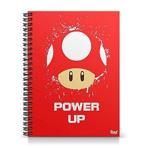Caderno Universitário Capa Dura 1x1 - Cogumelo Power Up