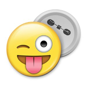 Botton Emoticon - Emoji Mostrando a Língua