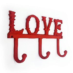 Cabideiro Rústico Love - vermelho
