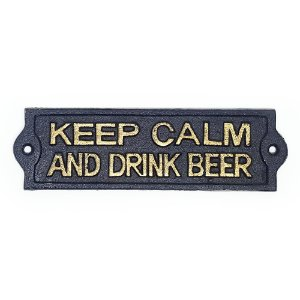 Placa Rústica de ferro Keep Calm and Drink Beer