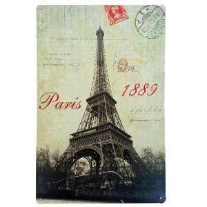 Placa de Metal Decorativa Paris 1889 - 30 x 20 cm