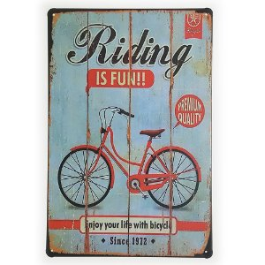 Placa de Metal Decorativa Riding is Fun