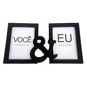 Porta Retrato Duplo Você & Eu - preto
