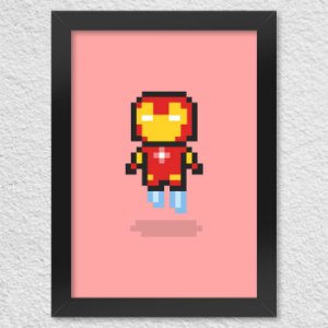 Poster com Moldura Iron Pixel Man