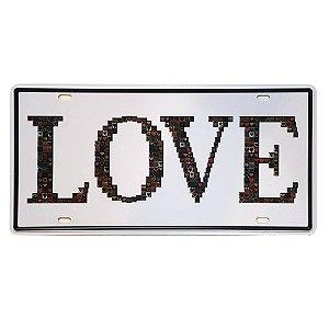 Placa de Metal Decorativa Love - 30,5 x 15,5 cm