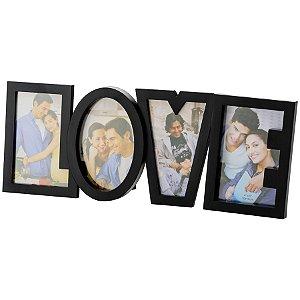 Porta Retrato 4 fotos Love - preto