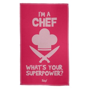 Pano de Prato Im a Chef Whats your superpower - rosa