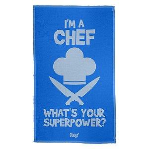 Pano de Prato Im a Chef Whats your superpower - azul