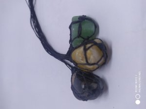 Colar de Macrame Artesanal com Pedra Natural 100PCento  Verdadeira - CORNALINA