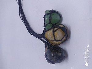 Colar de Macrame Artesanal com Pedra Natural 100PCento  Verdadeira - CRISTAL