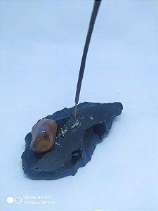 Porta Incenso / Incensário de Pedra Bruta Natural - Obsidiana Bruta + Pedra Rolada - CORNALINA