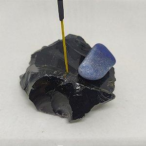 Porta Incenso / Incensário de Pedra Bruta Natural - Obsidiana Bruta + Pedra Rolada - QUARTZO AZUL