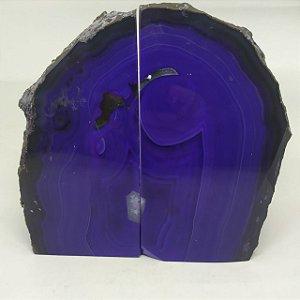 Porta Livro Ágata Natural / Encosto Aparador De Livros Em Pedra Ágata Azul