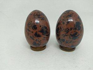 Yoni Ovo (Yoni EGG) de OBSIDIANA MAHOGANY / CAOBA / TIGRIL SEM Furo para Pompoarismo  / Cristaloterapia / Energia Quântica (Kegel)