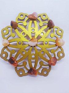 Mandala de Cristais - Cornalina - Energização de Ambientes - 20 Centímetros