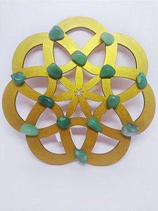 Mandala de Cristais - Quartzo Verde - Energização de Ambientes - 20 Centímetros