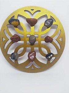 Mandala de Cristais - Jaspe Vermelho e Ônix - Energização de Ambientes - 20 Centímetros