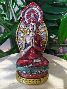 Buda com Mandala no Altar - Em Arte Barroca toda Pintada a Mão - Estatueta Meditação