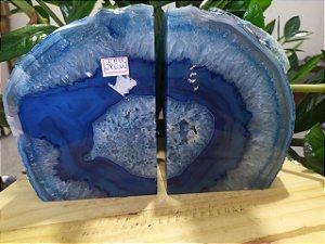 Porta Livro Ágata Natural / Encosto Aparador De Livros Em Pedra Ágata Azul Clara
