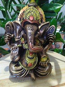 Estatueta de Ganesha com Mandala para Decoração em Arte Barroca - Toda feita a mão