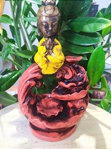 Porta Incenso / Incensário de Kuan Yin para Decoração em Arte Barroca - Toda feita a mão