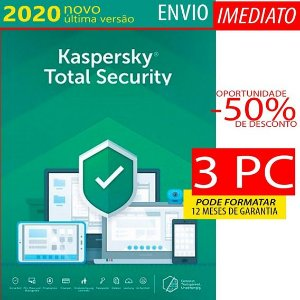 Kaspersky Total Security 3 Pc 1 Ano Envio Imediato