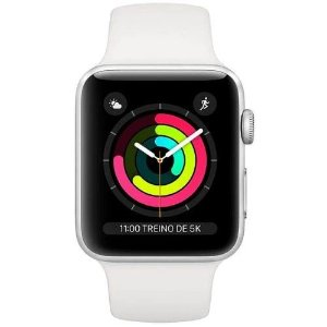 Apple Watch Series 3, 42 mm, Alumínio Prata, Pulseira Esportiva Branca e Fecho Clássico - MTF22BZ/A.