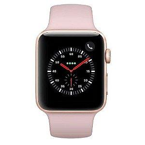 Apple Watch Series 3 Cellular, 42 mm, Alumínio Dourado, Pulseira Esportiva Rosa e Fecho Clássico - MQKP2BZ/A