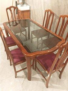 USADO: Mesa de jantar 6 cadeiras estilo Luís XV