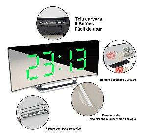 Relógio Curvado Led Digital Espelhado Despertador - Visor Branco