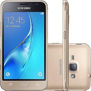 "Smartphone Samsung Galaxy J1 2016 Dual Chip Android 5.1 Tela 4.5"" 8GB Wi-Fi 3G Câmera 5MP - Dourado"