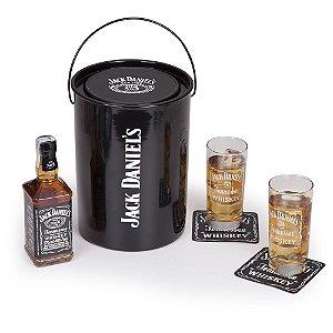 Kit Whisky Jack Daniel's 375ml + 2 copos e 2 porta copos + balde
