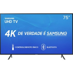"Smart TV LED 75"" Samsung 75RU7100 Ultra HD 4K com Conversor Digital 3 HDMI 2 USB Wi-Fi Visual Livre de Cabos Controle Remoto Único e Bluetooth"