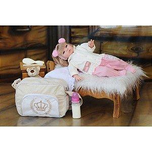 Boneca Princesa Loira Roupa - Creme/Rosa - 53cm